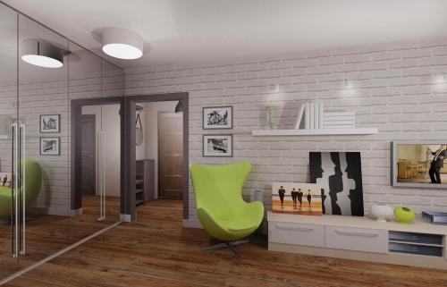 Дизайн гостиной .  Дизайн однокомнатной квартиры серии П44Т