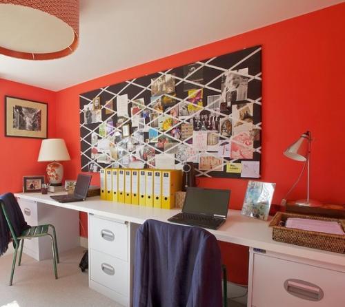 Украсить стену в офисе своими руками.  Доской для заметок