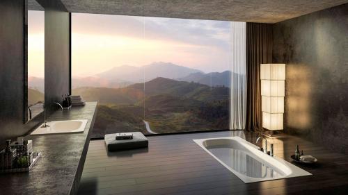 Интерьер ванной в восточном стиле. Привлекательный минимализм Страны Восходящего Солнца