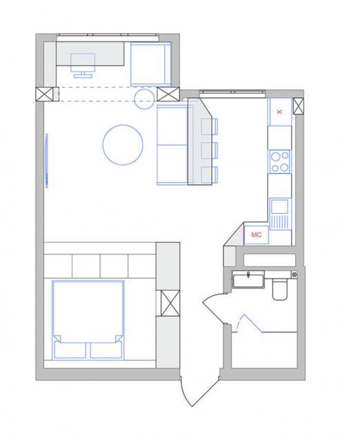 Проект 45 кв м квартиры. Двухкомнатная квартира для одного человека или для семьи