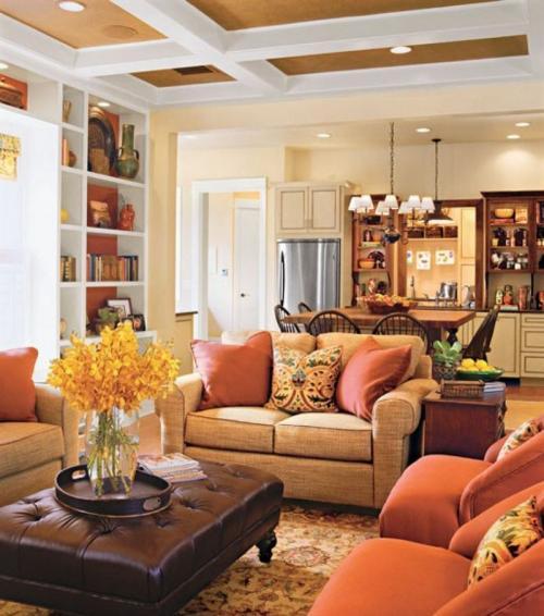 Гостиная в оранжевых тонах. Вариации сочетания цветов