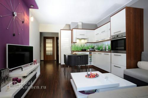 Кухня и гостиная студия. Планировка кухни-гостиной — где поставить кухонный гарнитур