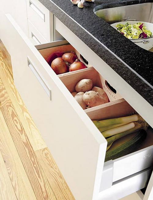 Ящик для хранения овощей на кухне. Кухонные ящики под фрукты и овощи