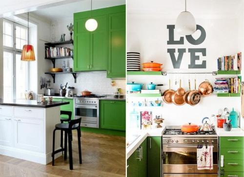 Зеленые стены на кухне. Сочетание с белым цветом – универсальное и беспроигрышное