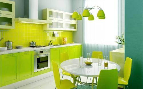 Дизайн кухни с зелеными обоями. В каком стиле оформить кухню с зелеными обоями? 05