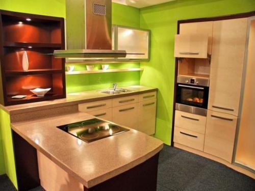 Дизайн кухни с зелеными обоями. В каком стиле оформить кухню с зелеными обоями? 06