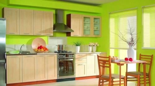 Обои для кухни под зеленый гарнитур. Зеленые обои на кухне