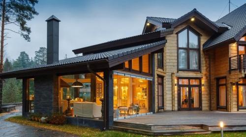 Кухня с выходом на террасу в частном доме. Дом с террасой: красивые варианты построек