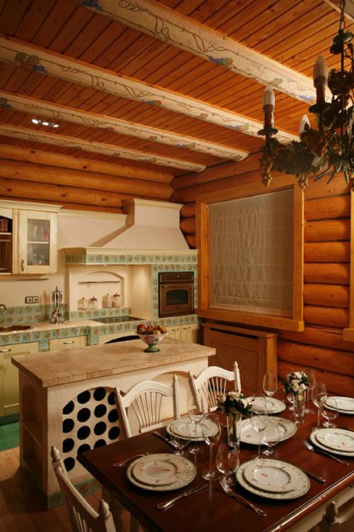 Интерьер кухни-гостиной в деревянном доме. Дизайн кухни совмещенной с гостиной (24 фото). Интерьер.