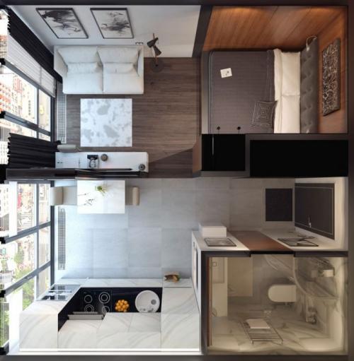 Как организовать пространство в маленькой квартире студии. №1. Правила организации интерьера квартиры-студии
