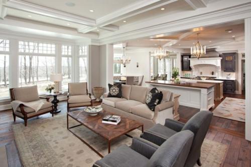 Интерьер гостиной с кухней в частном доме. Кухня-столовая: правильное распределение пространства, оформление интерьера