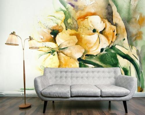 Цветы нарисованные на стене. Техника рисования